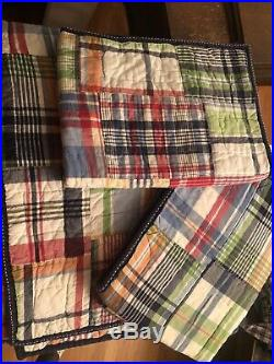 Pottery Barn Kids Madras Plaid Full Queen Quilt And 2 Standard Shams