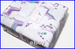 Pottery Barn Kids Magical Unicorn Organic Cotton Flannel Twin Sheet Set New