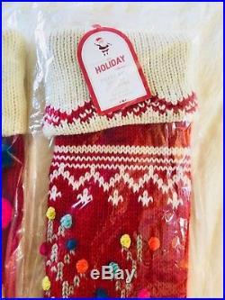 Pottery Barn Kids Merry N Bright Reindeer Pom Pom Snowman Christmas Stocking Set