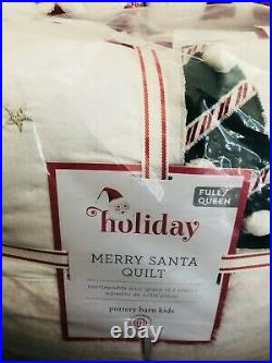 Pottery Barn Kids Merry Santa Full Queen Quilt Bedding New Comforter Christmas