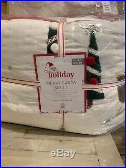 Pottery Barn Kids Merry Santa Full Queen Quilt Euro Shams Santa Pillow Christmas