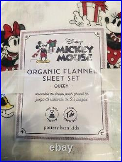 Pottery Barn Kids Mickey Mouse Christmas Holiday QUEEN Cotton Flannel Sheet Set