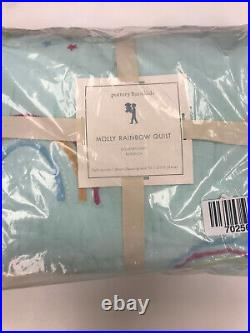 Pottery Barn Kids Molly Rainbow Full/Queen Quilt Aqua Blue NEW