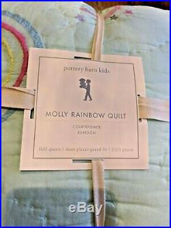 Pottery Barn Kids Molly Rainbow Quilt Full/Queen Aqua NEW WithTAGS