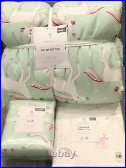 Pottery Barn Kids Molly Unicorn Dream Puff Twin Comforter Sham Sheet Set Plush