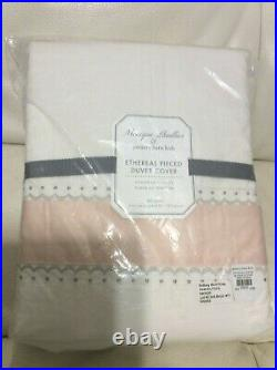 Pottery Barn Kids Monique Lhuillier Ethereal Pieced Blush Pink F/Q Duvet NWT