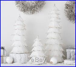 Pottery Barn Kids Monique Lhuillier White Glitter Trees S/2 Hard To Find New