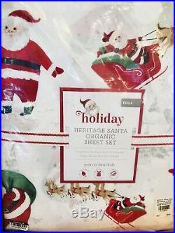 Pottery Barn Kids Morgan Duvet Santa Full Sheet Set Shams Christmas Ho Ho Ho