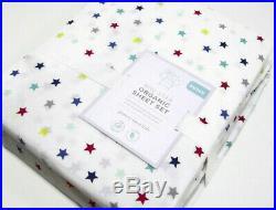 Pottery Barn Kids Multi Color Organic Cotton Mini Stars Queen Sheet Set New