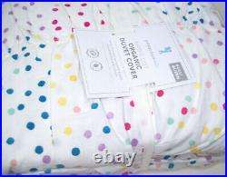 Pottery Barn Kids Multi Colors Nadia Dot Ruched Organic Full Queen Duvet Cover