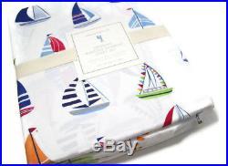 Pottery Barn Kids Multi Colors Organic Cotton Hudson Sail Boat Queen Sheet Set