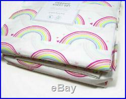 Pottery Barn Kids Multi Colors Organic Cotton Rainbow Hearts Full Sheet Set New