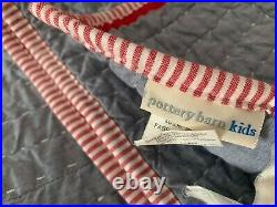 Pottery Barn Kids Navy Blue Chambray Red Trim Quilt Full/Queen Teen 86x86 EXC