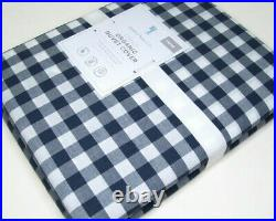 Pottery Barn Kids Navy Blue Organic Cotton Check Plaid Twin Duvet Cover New