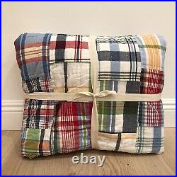 Pottery Barn Kids Navy Red Plaid MADRAS TWIN Quilt + Standard Sham