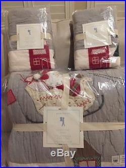 Pottery Barn Kids North Pole Santa Holiday Quilt Std Shams Sheets Christmas Full