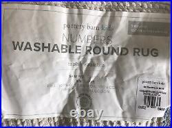 Pottery Barn Kids Numbers Round Washable Rug Light Gray 5' Diameter