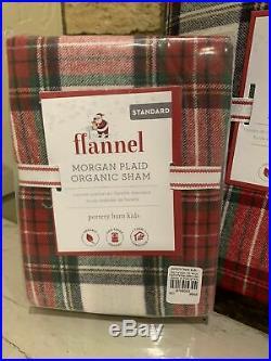 Pottery Barn Kids ORGANIC Morgan plaid flannel FULL QUEEN duvet Shams Christmas