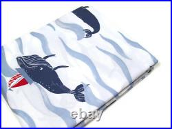 Pottery Barn Kids Organic Cotton Nautical Whale Boat Full Queen Duvet Cover New