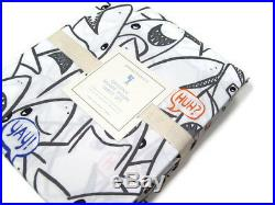 Pottery Barn Kids Organic Cotton Shane Shark Drawing Words Queen Sheet Set New