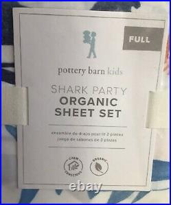 Pottery Barn Kids Organic Cotton Shark Ocean Party Sheet Set Full Ocean Fish New