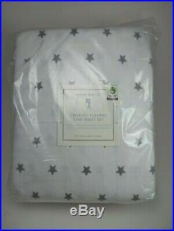 Pottery Barn Kids Organic Flannel Star Gray Sheet Set Full #1927
