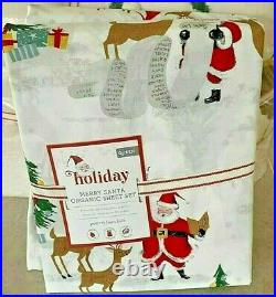 Pottery Barn Kids Organic Merry Santa FULL COTTON sheet set Christmas