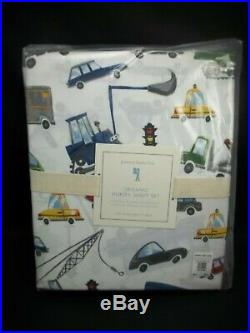 Pottery Barn Kids Organic Transportation Car Trucks Huxley Sheet Set Full #1523