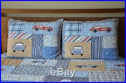 Pottery Barn Kids Outlet Boys Clayton's Cars Full/Queen Quilt and 3 Shams NEW
