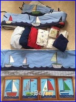 Pottery Barn Kids Owen Nursery Set Sheets Bumper Pictures Crib Skirt Lot Ecu