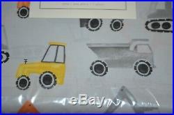Pottery Barn Kids Parker Construction Trucks Duvet Cover Full Queen & 2 Shams