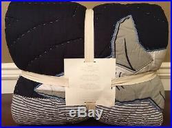 Pottery Barn Kids Patchwork Shark Quilt Twin Navy Nautical Comforter NEW