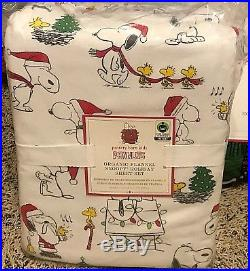 Pottery Barn Kids Peanuts Holiday flannel QUEEN sheets SNOOPY teen