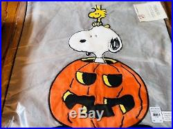 Pottery Barn Kids Peanuts Snoopy Sheet Set Queen Happiness Is Halloween Pillow