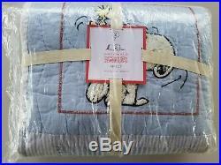 Pottery Barn Kids Peanuts Snoopy Twin Comforter Blue #3103