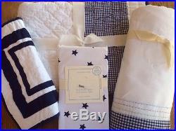 Pottery Barn Kids Peyton Navy Gingham Nursery Crib Quilt, Sham, Fitted Sheet, Skirt