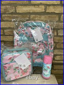 Pottery Barn Kids Pink Aqua Bouquets Large Backpack Lunch Box Water Bottle Set