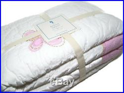 Pottery Barn Kids Pink Butterfly Alexa Reverse Pink White Gingham Twin Quilt New