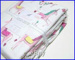 Pottery Barn Kids Pink Magical Unicorn Organic Cotton Flannel Twin Sheet Set New