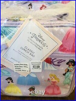 Pottery Barn Kids Princess Disney Large Backpack Lunch Box Water Bottle Lavender