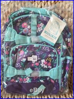 Pottery Barn Kids Purple Flower Bouquet Large Backpack Water Bottle Lunch Box