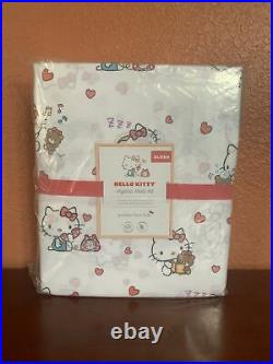 Pottery Barn Kids QUEEN Hello Kitty Organic Sheet Set Cotton Cats Valentines