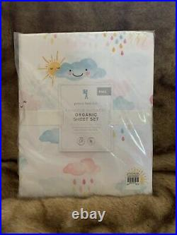 Pottery Barn Kids Rainbow Shower Organic Full Sheet Set NWT