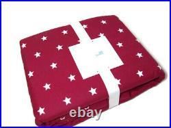 Pottery Barn Kids Red Flannel Star Stars Cotton Full Queen Duvet Cover New