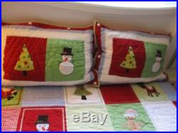 Pottery Barn Kids Red Green Christmas Reversible Quilt Set with 2 Shams FULL/QUEEN