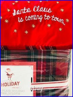 Pottery Barn Kids Red Plaid Holiday Tablecloth Napkins Christmas Santa Decor New