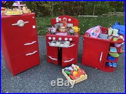 Pottery Barn Kids Red Retro Play Kitchen 3 Pieces