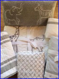 Pottery Barn Kids Reese Nursery Crib Quilt, Sham, Sheet, Skirt, Pillow, B. Liner