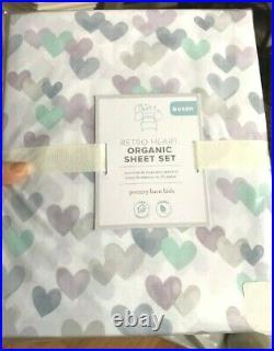 Pottery Barn Kids Retro Heart Sheet Set Lavender Queen Organic 4pc