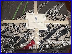Pottery Barn Kids STAR WARS X-Wing+Tie Fighter F/Queen Quilt +2 Std+2 Euro Shams
